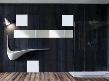 baño moderno con lavabo de diseño en blanco