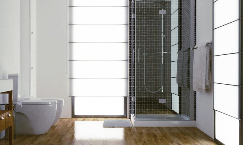 baño en madera con ducha