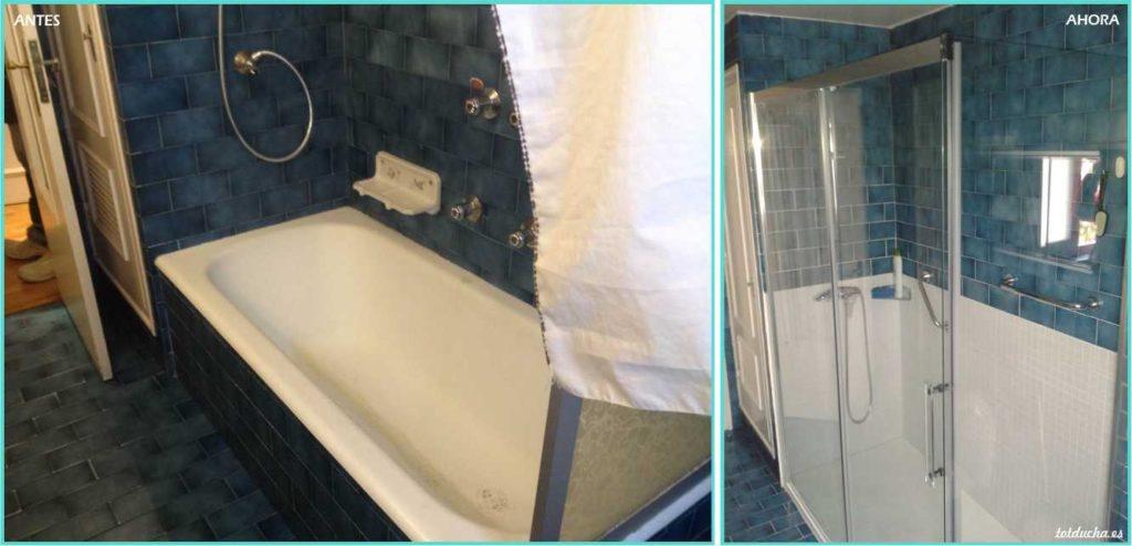 Plato de ducha y mampara de cristal