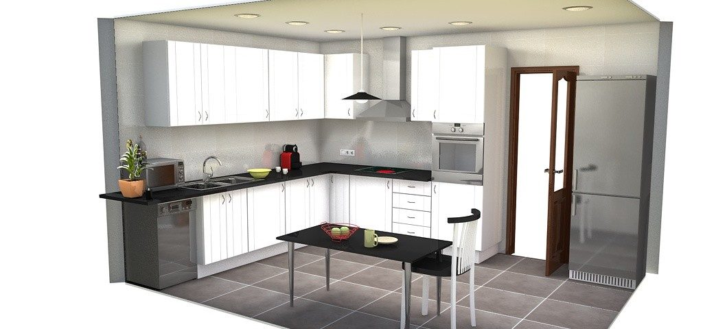 Diseño cocina puertas blancas