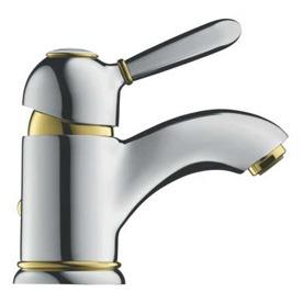 Grifo de lavabo monomando clásico contemporáneo con dorados