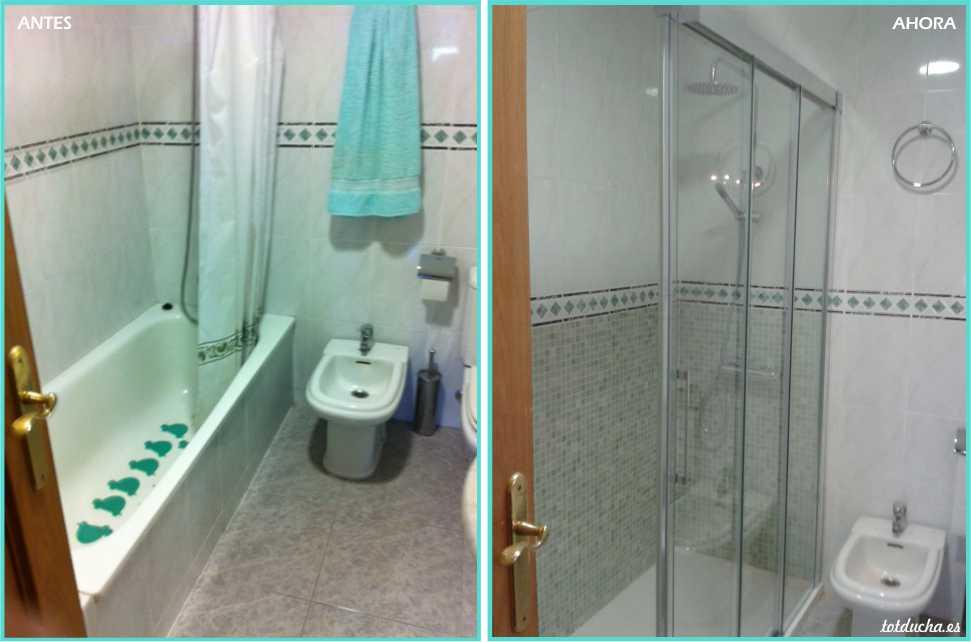 Cambio bañera por ducha, plato de 170 x 70 y mampara cristal 3 hojas.