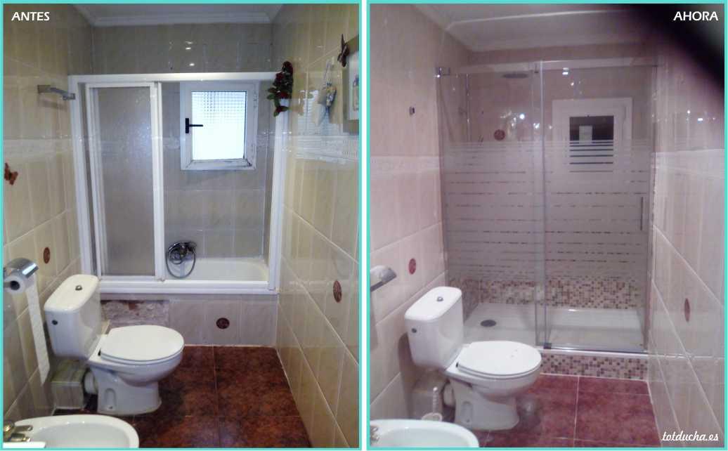 antes y después de un cambio de bañera por ducha