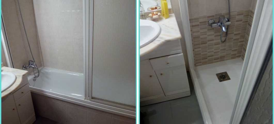 Cambio ba era por ducha con revestimiento antiguo suelto for Revestimiento ducha