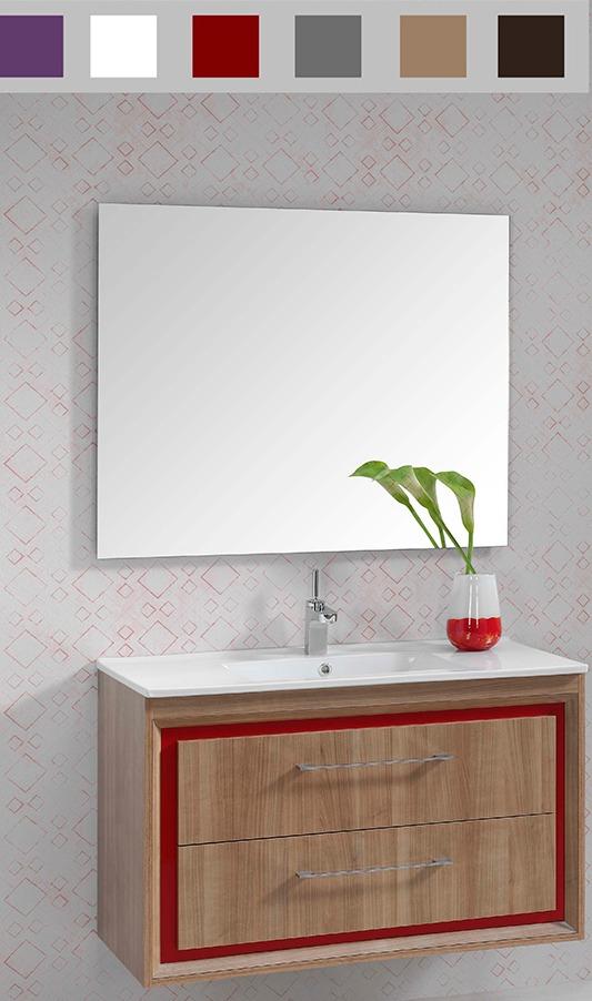 mueble de baño Carrera, acabado madera firma Valman