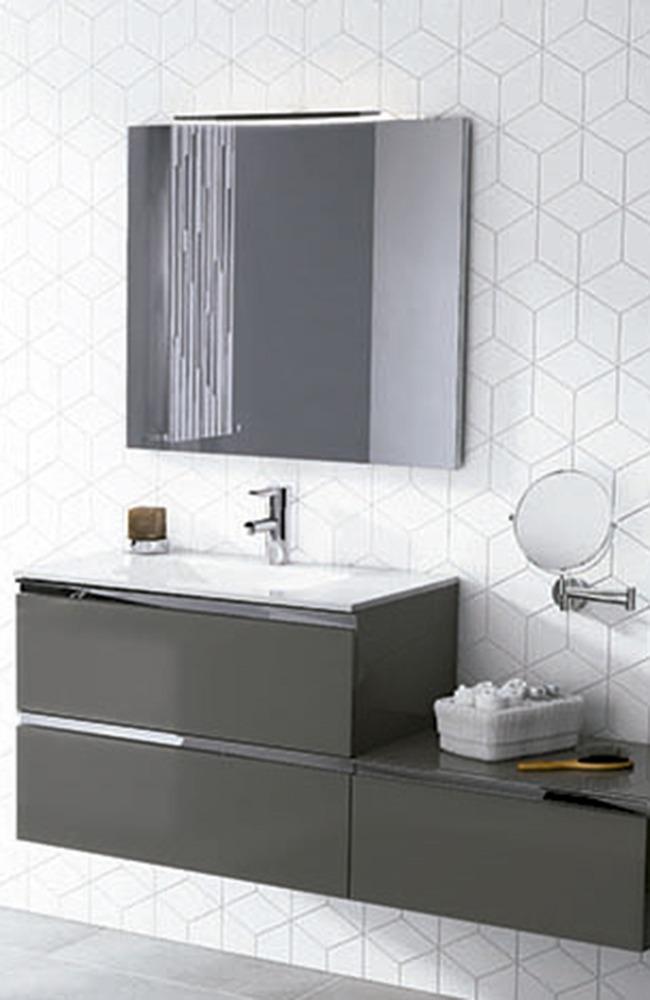 mueble baño gris oscuro brillo firma Royo