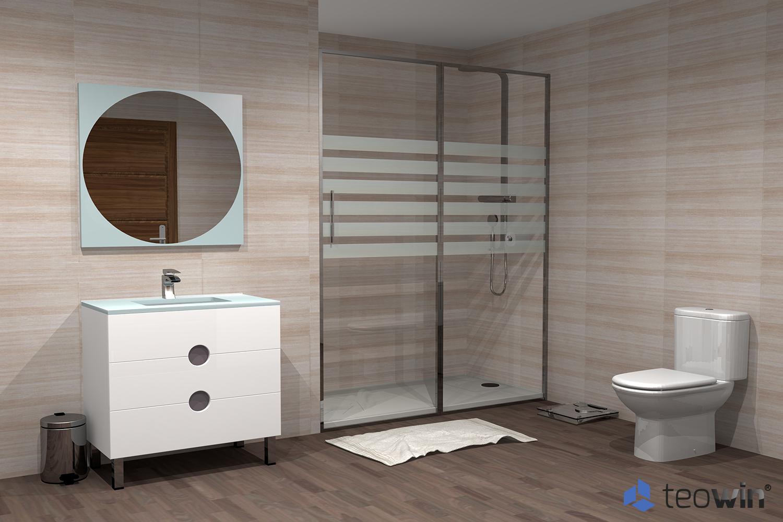 Render de cuarto de baño moderno en madera y con plato de ducha antideslizante