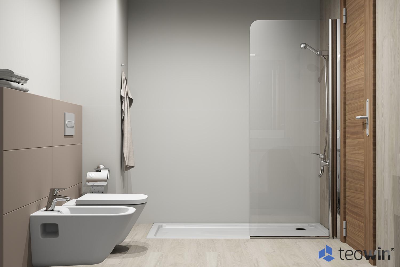 Render cuarto de baño minimalista con plato de ducha antideslizante hecho con Teowin