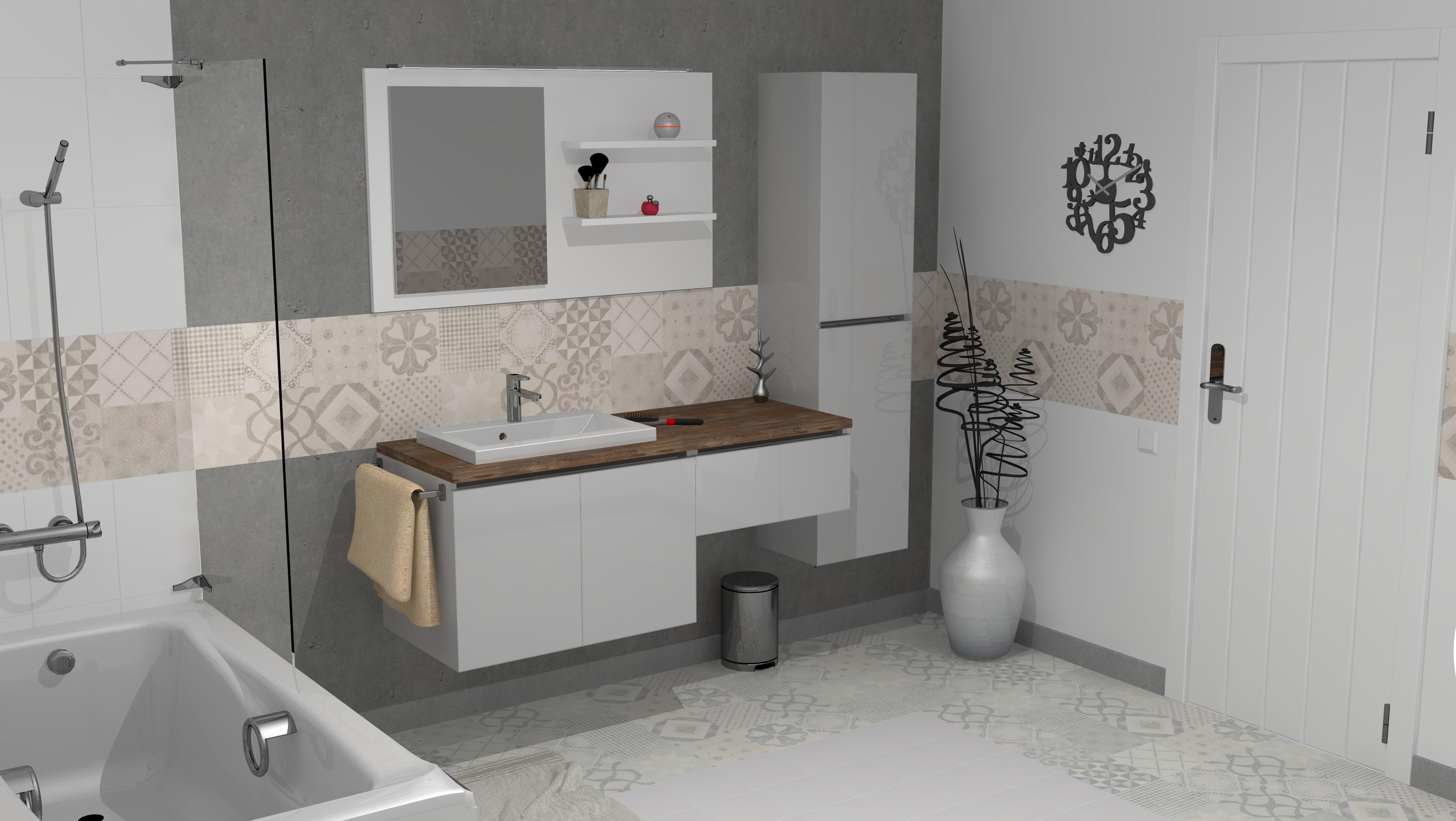 Render de baño con azulejos hecho con Teowin